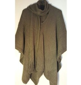 Poncho with attached scarf